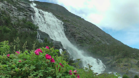 Large cascade waterfall,norway Footage