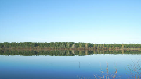 Panorama of a large lake or river Footage