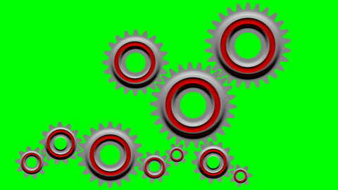 Cogs rotation on a green screen background Animation