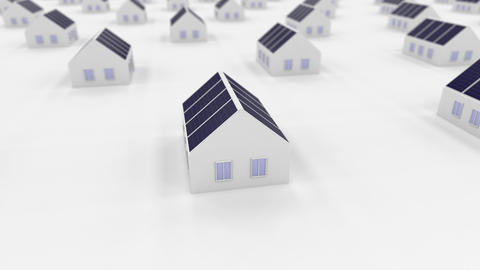 block of buildings with renewable energy constructions Animation