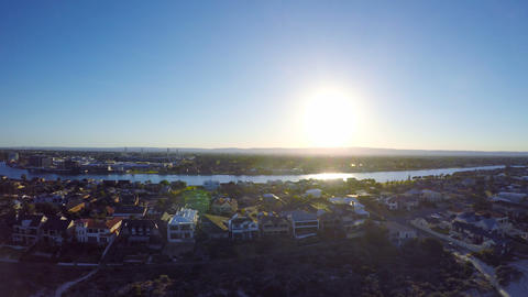 Early morning aerial view of South Australian beach with sun rising over ビデオ