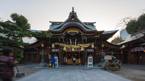 Time Lapse video of People travel at Kushida Shrine in Hakata, Fukuoka, Japan Live Action