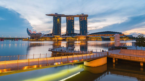 Timelapse video of Singapore Merlion and Marina Bay Sands with sunrise in the Footage