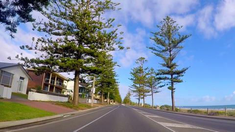 Driving along The Esplanade, Semaphore, Adelaide, South Australia, vehicle POV, Footage