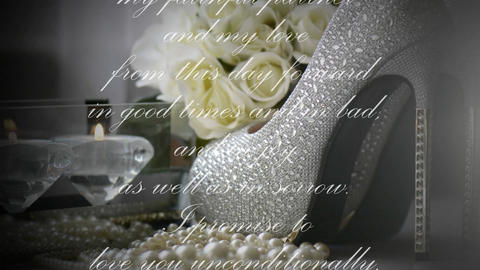 Animated text of scrolling wedding vows over background of high heel shoes Footage
