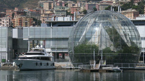 View of the biosphere in the old city port of Genoa, Italy Live Action