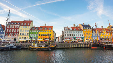 Time Lapse video panorama view of Nyhavn in Copenhagen, Denmark day to night Footage