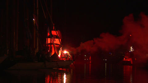 pirates landing 01 Stock Video Footage