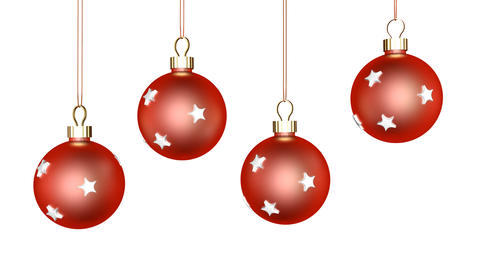 Red Xmas Ornaments Zoom stock footage