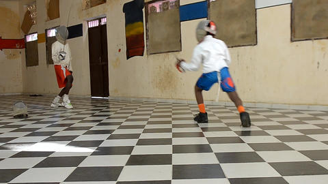 fencing gym Stock Video Footage