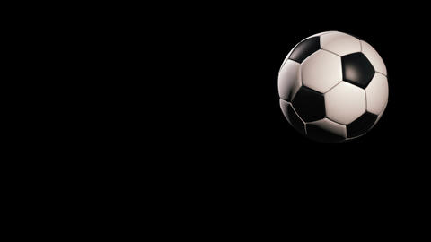 Soccer ball, jumping on black background, loop Animation