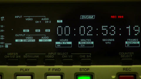 Timecode display and inserting tape Stock Video Footage