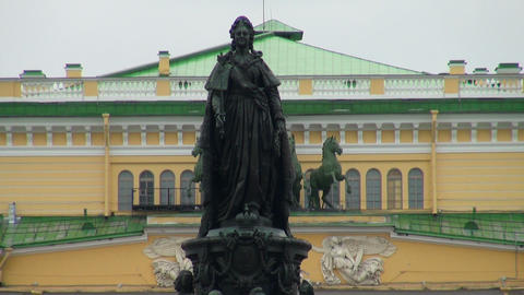 Monument To Catherine 2 in Saint-Petersburg Stock Video Footage