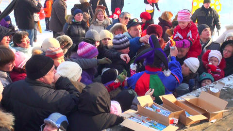 Distribution of gifts at fair Stock Video Footage