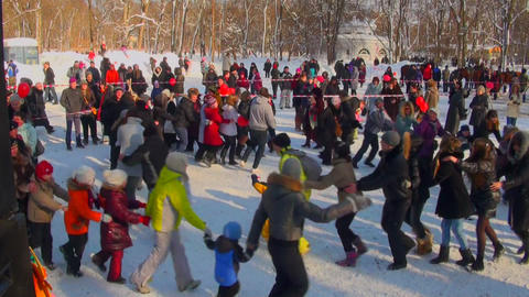 Round dance on a holiday Stock Video Footage