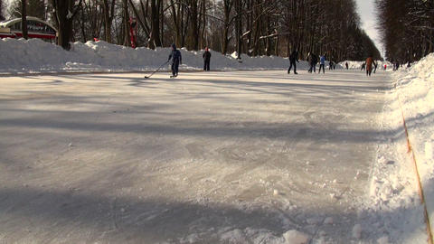 Skating rink, people on the skates Stock Video Footage