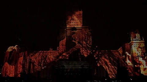 Laser show on the building of the Moscow university Footage
