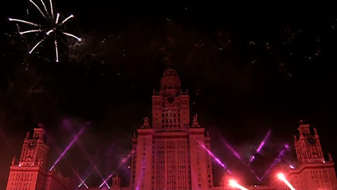 Fireworks over Moscow university Footage