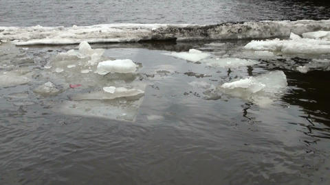 Ice floe floats in water Stock Video Footage