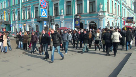 People are walking around the city Stock Video Footage
