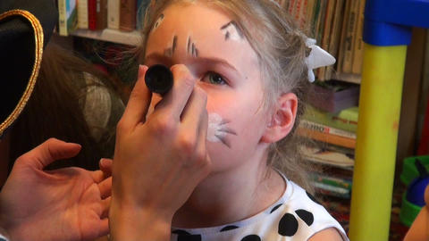 artist makes up the girl Stock Video Footage