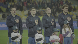 The players sing the anthem before the match. (Ukraine team) Footage