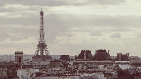 Timelapse of retro color toned Paris with Eiffel tower Footage