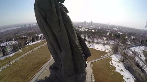 Aerial view of The Motherland Calls statue, Volgograd Footage