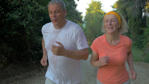 Senior couple jogging in the forest Footage