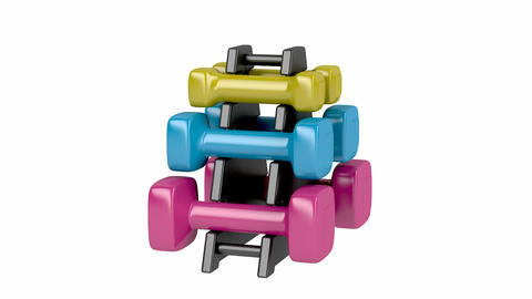 Rack with plastic dumbbells Animation