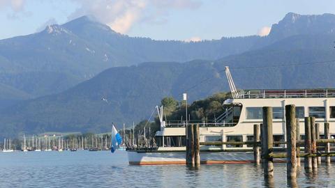 Harbour of lake Chiemsee in Bavaria, Germany Footage