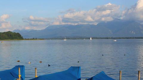 Panorama of lake Chiemsee in Bavaria, Germany Footage