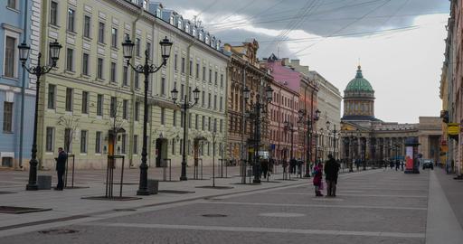 Konyushennaya street in St. Petersburg. timelapse Footage