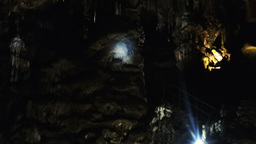 Dark Cave With Natural Rock Sculptures stock footage