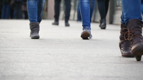 Feet people going. slow motion Stock Video Footage