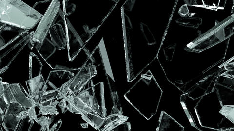Pieces of destructed Shattered glass in slow motion. Alpha matte Animation