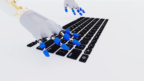 Robot hands typing over keyboard keys Animation