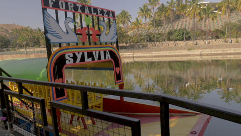 TEQUILA, MEXICO - CIRCA FEB 2017 - Tourist boat with a hand painted Fortaleza Live Action