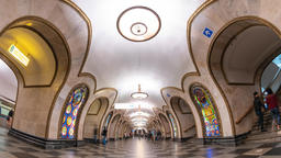 Moscow subway metro timelapse at Novoslobodskaya Station, Moscow Russia 4K Time ビデオ