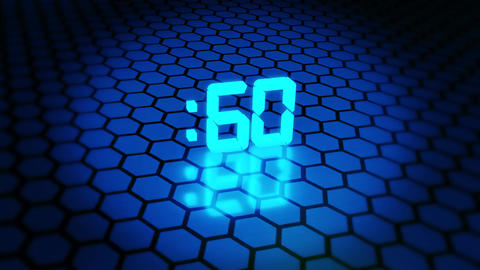 3D Blue 60 Seconds Countdown with Hexagonal Floor Background Animation