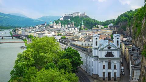 Time Lapse of Salzburg city skyline in Salzburg, Austria timelapse 4K Footage