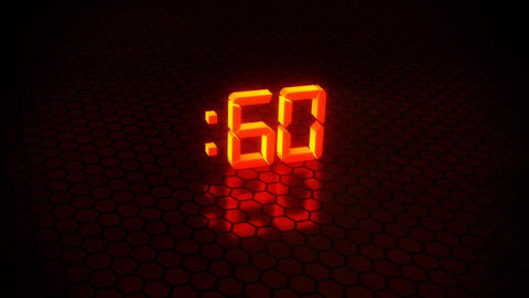 3D Orange 60 Seconds Countdown with Hexagonal Floor Background Animation