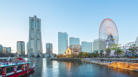 Time lapse of Yokohama city skyline in Japan day to night time lapse 4K Footage