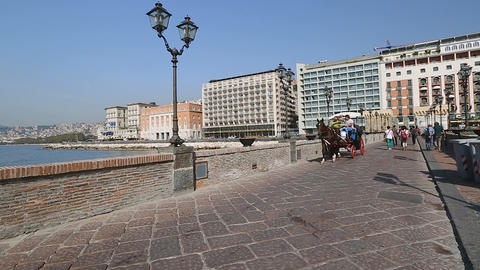 Tourists enjoying beautiful landscape from horse drawn carriage, tour to Naples Footage