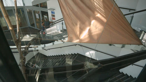 View from glass elevator on beautiful modern business center, building, design Footage