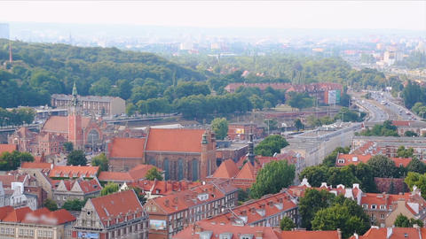 Gdansk cityscape, stunning view on orange building roofs and road, tourism Footage