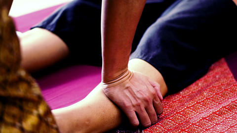 Traditional Thai massage or Thai yoga massage Footage