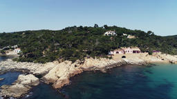 Aerial drone view of Costa Brava in Palamos Girona Catalonia Spain Footage