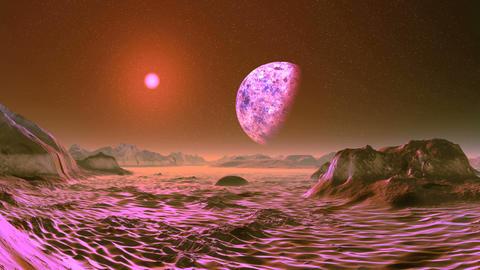 Pink Sunrise on Alien Planet Animation