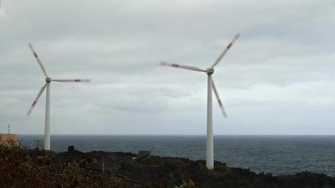 Two wind turbines oceanfront ビデオ